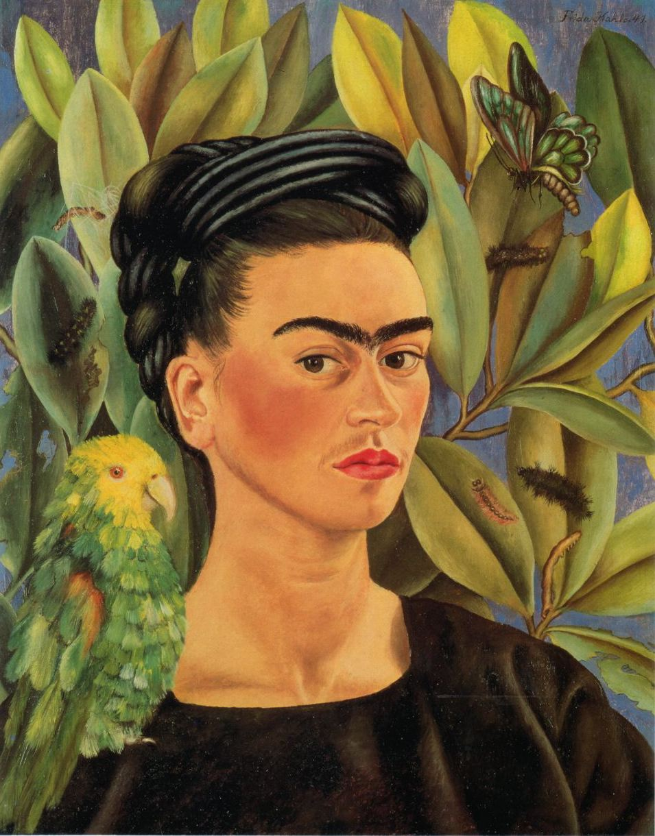 1941 Frida Kahlo (Mexican artist, 1907-1954) With Bonito Parrot and Butterfly